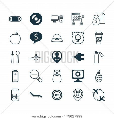 Set Of 25 Universal Editable Icons. Can Be Used For Web, Mobile And App Design. Includes Elements Such As Takeaway Coffee, Personal Computer, Radio Set And More.