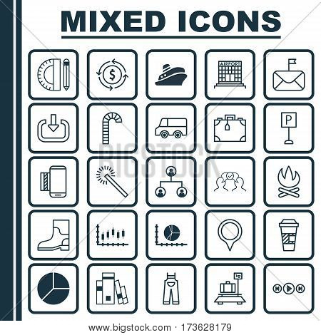 Set Of 25 Universal Editable Icons. Can Be Used For Web, Mobile And App Design. Includes Elements Such As Cooperation, Airfield Manufacture, Sparkles And More.