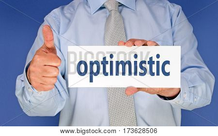 optimistic - Businessman with sign and thumb up