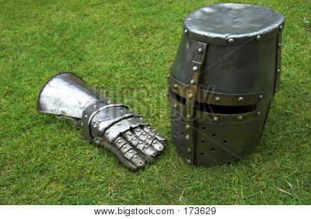 Knights Helmet And Gaunlet