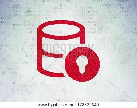Software concept: Painted red Database With Lock icon on Digital Data Paper background