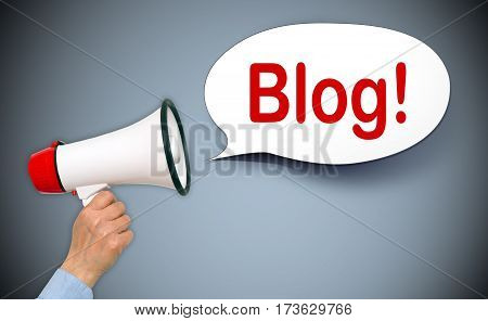 Blog - megaphone with speech bubble and text