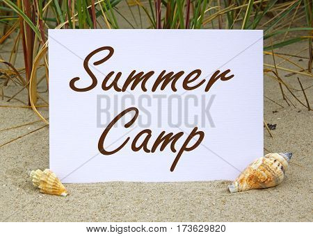 Summer Camp - postcard with text at the beach