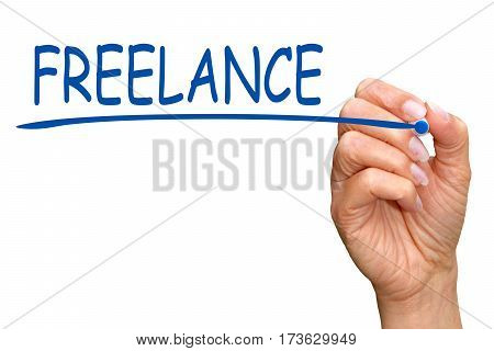 Freelance - female hand writing blue text on white background
