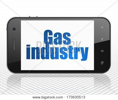 Industry concept: Smartphone with blue text Gas Industry on display, 3D rendering