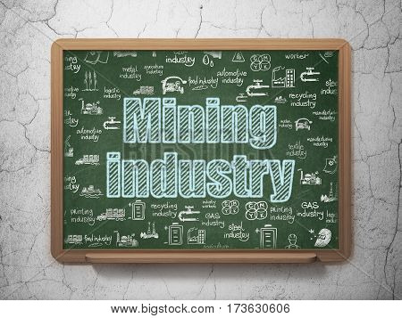 Industry concept: Chalk Blue text Mining Industry on School board background with  Hand Drawn Industry Icons, 3D Rendering