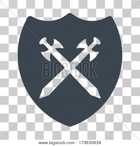 Security Shield vector icon. Illustration style is flat iconic smooth blue symbol on a transparent background.