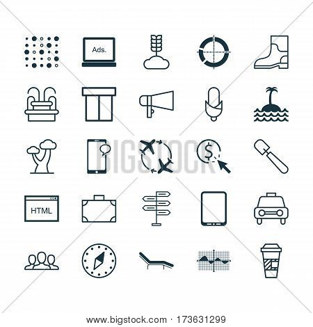 Set Of 25 Universal Editable Icons. Can Be Used For Web, Mobile And App Design. Includes Elements Such As Variable Architecture, Shovel, Fly Around And More.