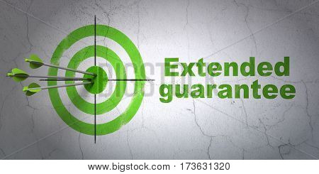 Success Insurance concept: arrows hitting the center of target, Green Extended Guarantee on wall background, 3D rendering