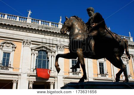 Piazza del Campidoglio - Statue Marco Aurelio at the Capitoline Hill in Rome Italy