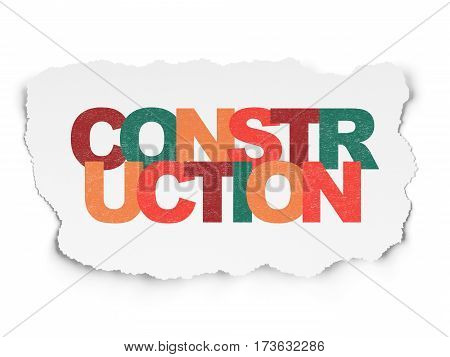 Constructing concept: Painted multicolor text Construction on Torn Paper background