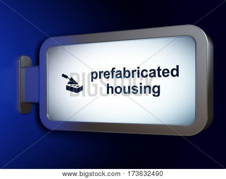 Building construction concept: Prefabricated Housing and Brick Wall on advertising billboard background, 3D rendering