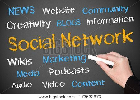 Social Network - female hand writing text