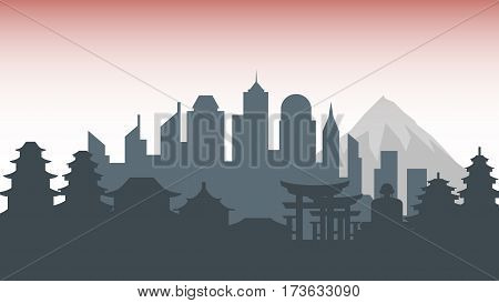 Stock vector illustration background silhouette architecture buildings and monuments town city country travel printed materials, cover, Japan, monuments, Tokyo, Japanese culture, landscape, mountain