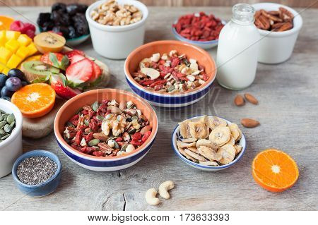 Paleo style nut cereal with fruits and berries on the wooden table selective focus