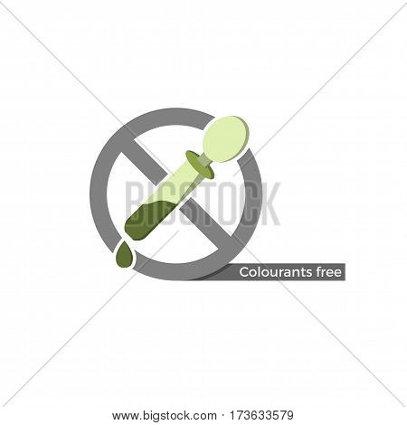 Dye free food or cosmetics label. Vector illustration in flat design and eco-style colors. Icon of a dropper, crossed by
