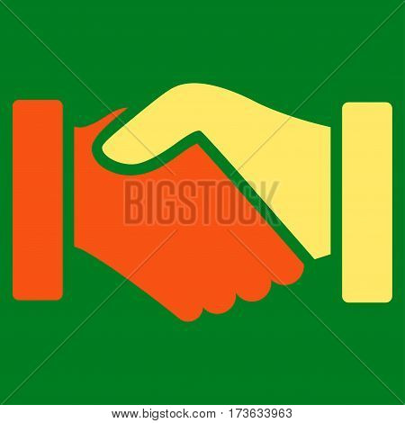 Acquisition Handshake vector icon. Flat bicolor orange and yellow symbol. Pictogram is isolated on a green background. Designed for web and software interfaces.
