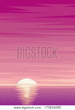 Cartoon ocean background with sunrise and copy space.