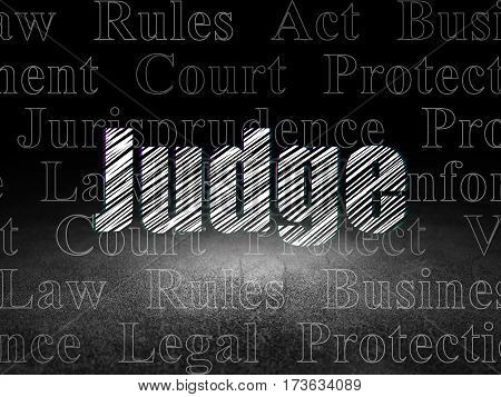 Law concept: Glowing text Judge in grunge dark room with Dirty Floor, black background with  Tag Cloud