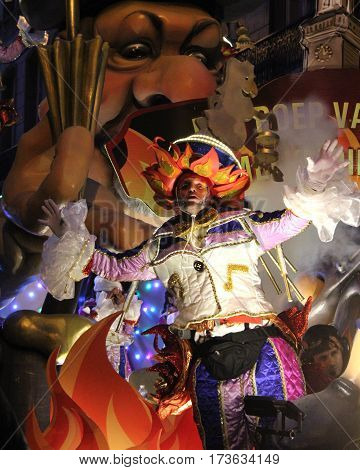 AALST, BELGIUM, FEBRUARY 26 2017: Unknown male dancer during the annual carnival parade in Aalst, which is a UNESCO recognized event of Intangible Cultural Heritage.