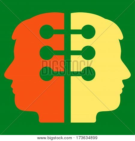 Dual Head Interface vector icon. Flat bicolor orange and yellow symbol. Pictogram is isolated on a green background. Designed for web and software interfaces.