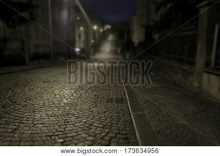 Brno city - old streets in downtown during night tilt shift photo Central Europe - Czech Republic.