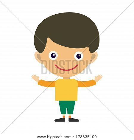 Boy portrait fun happy young expression cute teenager cartoon character and happyness little kid flat human cheerful joy casual childhood life vector illustration. Adorable preschooler male.