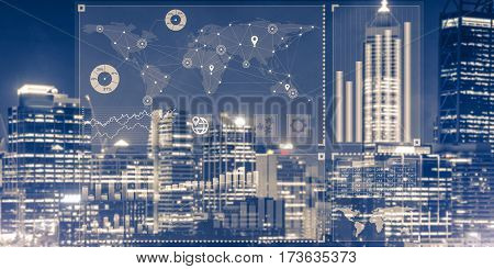 Background conceptual image with virtual interface against night glowing city