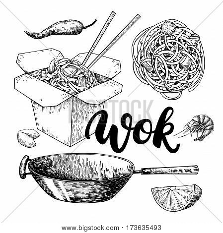 Wok vector drawing with lettering. Isolated chinese box wok and chopsticks with noodles vegetables and seafood. Hand drawn detailed fast asian food illustration. Great for banner poster menu decor