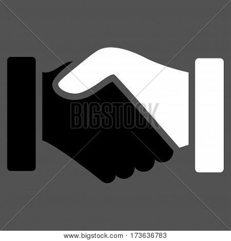 Acquisition Handshake vector icon. Flat bicolor black and white symbol. Pictogram is isolated on a gray background. Designed for web and software interfaces.