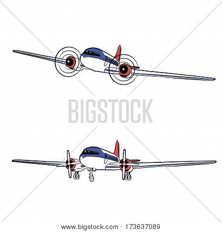Vector illustration passenger propeller aircraft in the static state and in flight on a white background