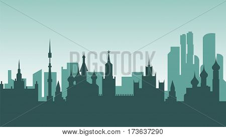 Stock vector illustration background silhouette architecture buildings and monuments town city country travel printed materials, Russia, monuments, Moscow, Russian culture, landscape, Kremlin, capital