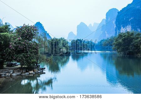 The beautiful river and mountains background scenery