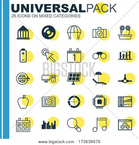 Set Of 25 Universal Editable Icons. Can Be Used For Web, Mobile And App Design. Includes Elements Such As Web Page Performance, Skydive, Taste Apple And More.