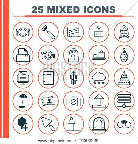 Set Of 25 Universal Editable Icons. Can Be Used For Web, Mobile And App Design. Includes Elements Such As File Scanner, Information Base, Blog Page And More.