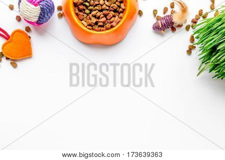 dry cat food in bowl on white background top view.