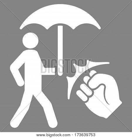 Crime Coverage vector icon. Flat white symbol. Pictogram is isolated on a gray background. Designed for web and software interfaces.