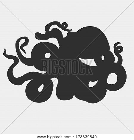 Devilfish with curling tentacles . Giant hand drawn Octopus predator beast isolated, vector cartoon