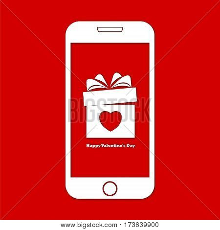 Happy Valentines Day on Smart phone with red background