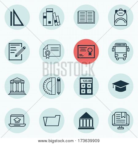 Set Of 16 School Icons. Includes Paper, Document Case, Haversack And Other Symbols. Beautiful Design Elements.