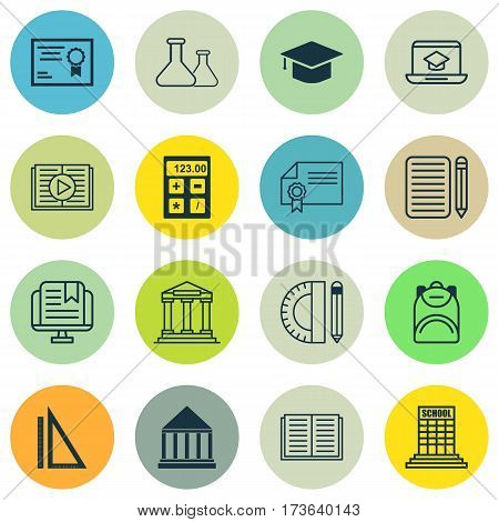 Set Of 16 School Icons. Includes Opened Book, Diploma, Haversack And Other Symbols. Beautiful Design Elements.