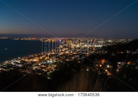 A sea of lights of Puerto Vallarta and Nuevo Vallarta after sunset