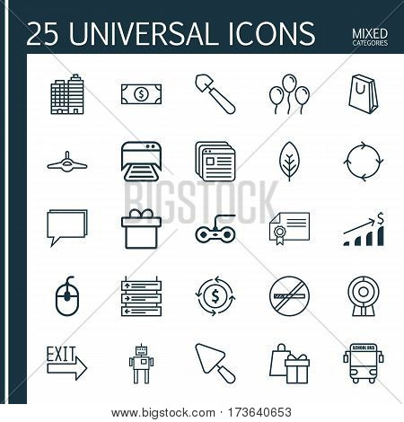 Set Of 25 Universal Editable Icons. Can Be Used For Web, Mobile And App Design. Includes Elements Such As Plane, Putty, Printed Document And More.