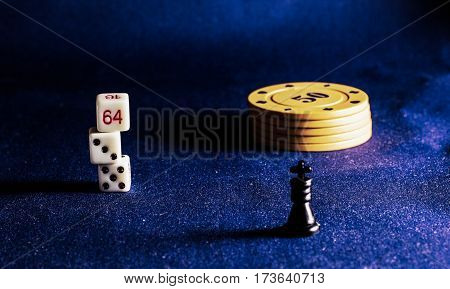 poker chips on a background of the fabric items for playing cards are given for a win are cash equivalent bank