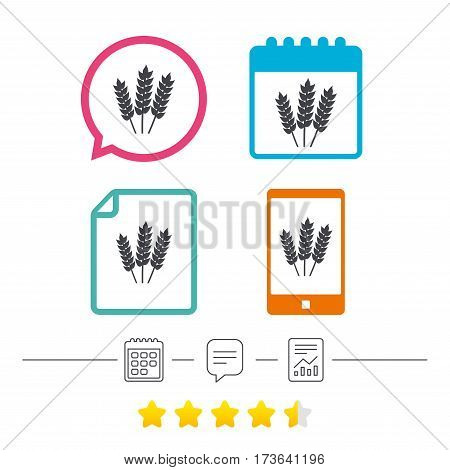 Agricultural sign icon. Gluten free or No gluten symbol. Calendar, chat speech bubble and report linear icons. Star vote ranking. Vector