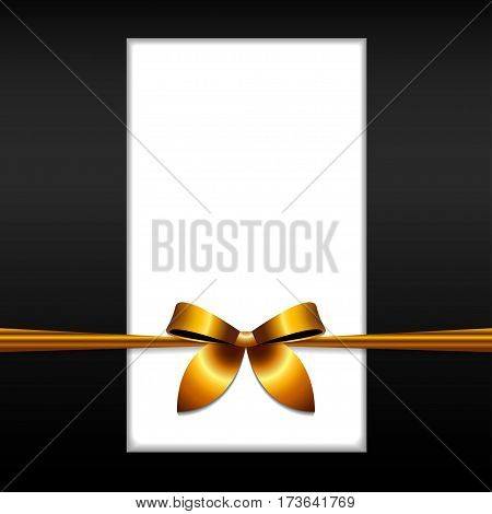 Golden ribbon bow on postcard Vector illustration Postcard template in black and white color bandaged a golden ribbon bow Realistic style