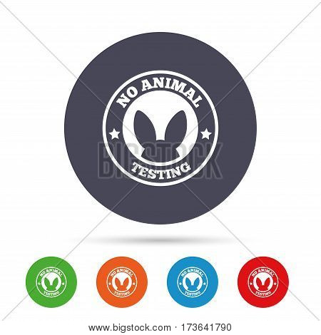 No animals testing sign icon. Not tested symbol. Round colourful buttons with flat icons. Vector