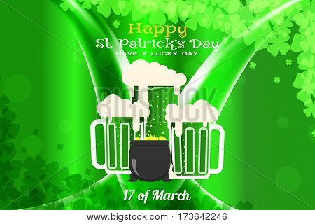 Happy St. Patrick's Day vector poster on the gradient dark green background with waves goblets of beer and cauldron with coins.