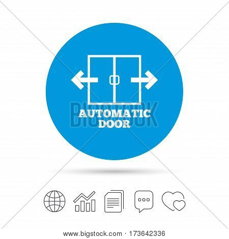 Automatic door sign icon. Auto open symbol. Copy files, chat speech bubble and chart web icons. Vector
