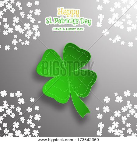 Happy St. Patrick's Day vector poster on the gradient dark gray background with green leaf of clover cut from paper shadow text and clover leaves arranged at the corners.